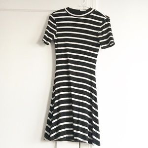 Nasty Gal black + white striped dress